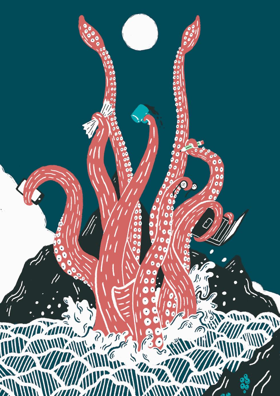 Multitasking Kraken by Daniel Nelson